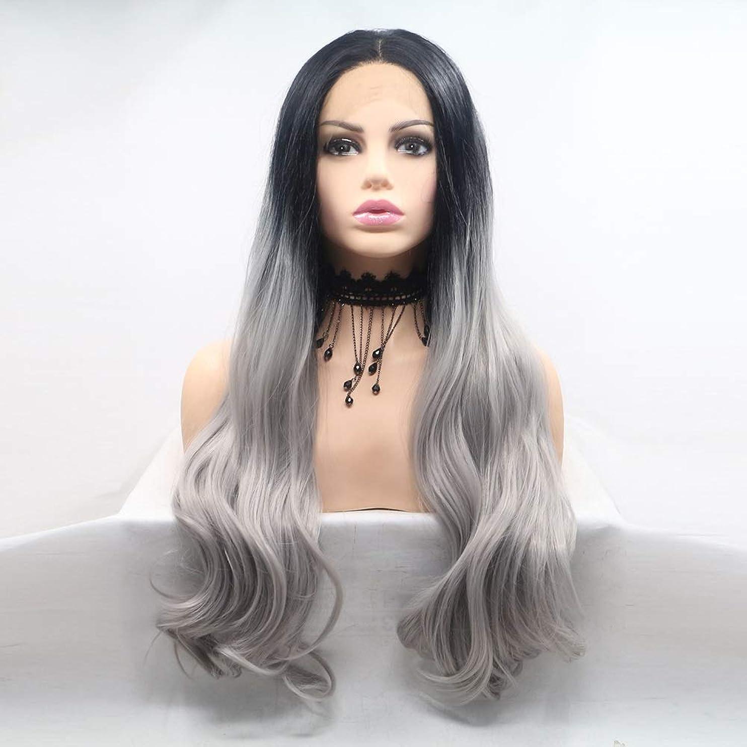 である逆血ZXF かつら女性手作りレースヨーロッパとアメリカのかつらはかつらの髪のセット - 黒 - リネングレー - 長い巻き毛のセット 美しい