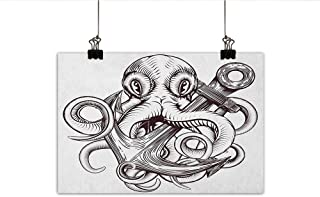 MartinDecor Anchor Abstract Painting Monochrome Octopus Tattoo Art Style Naval Sketch Mythical Kraken Beast Design Natural Art 24