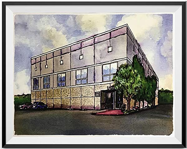 My Party Shirt Pam Beesly The Office Building Watercolor Painting Poster Dunder Mifflin 18 X 24