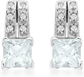 Fashion Jewelry SOLITAIRE SAPHIR BLEU pierres précieuses Femmes crochet argent Boucles d/'oreilles