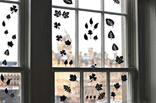 Window Alert Birds Stickers - Anti Collision Clings Decals, Tree Leaf Medley Silhouette for Prevent Birds or People on Window, Black (15 Silhouettes)