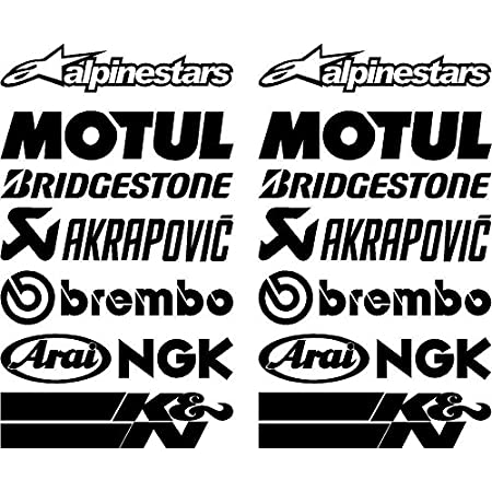 Vinyl Aufkleber Sponsor Kompatibel Mit Akrapovic Elf Monster Kawasaki Showa Laminatdruck Schutz Vor Uv Strahlen Und Kratzern A4 Blatt 22 Aufkleber Auto