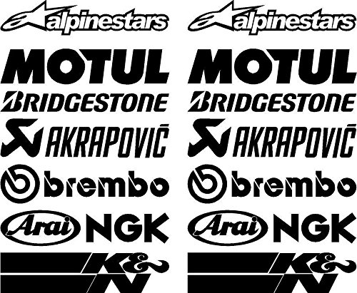16-X-Black-Belly-Pan-Fairing-Sponsor-Logo-Aufklebers-Aufklebers-Colour-`+ Bonus Testaufkleber
