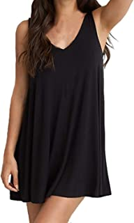 Plus Size Women Black V Neck Sleeveless Backless Sexy Mini Dress Loose Casual Dress