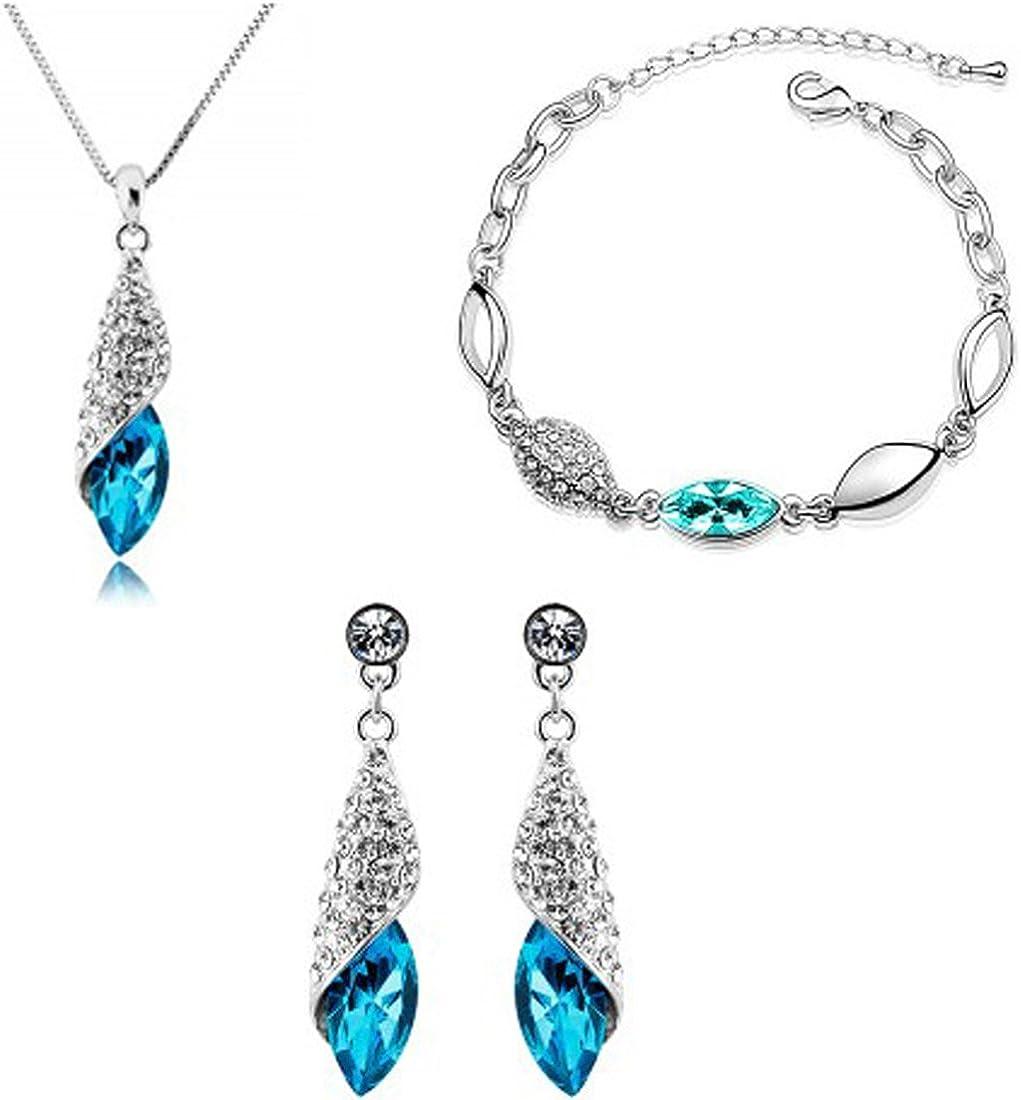 MAFMO Elegant Drop Shaped Jewelry Set Multi-Colored Crystal Pendant Necklace Bracelet Earrings