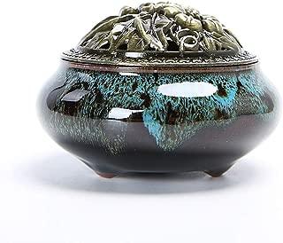 Incense Burner Box Porcelain Incense Burner (Cone/pan Incense Burner) Ceramic Ash Tray Bowl with Brass Incense Holder Incense Burner Bowl (Color : A)