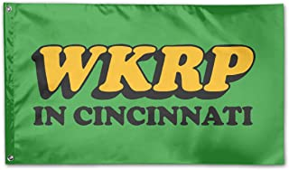 LCGUYJB- WKRP in Cincinnati Vintage Tribute Logo 3x5 FT, Durable Polyester, Ft Polyester Flag for Outdoor Decoration-Merchandise for Indoor/Outdoor Use (100% Polyester, 3 X 5 Ft)