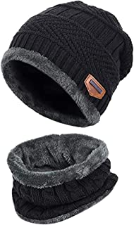 Reayouth Knitted Beanie hat, 2 Pieces Winter Beanie Hat Scarf Set Warm Knit Hat Thick Fleece Lined Winter Cap Scarves for ...