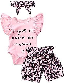 Geagodelia - Conjunto de ropa para bebé (3 piezas), diseño de leopardo
