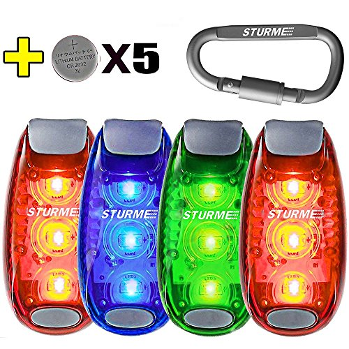 STURME LED Safety Light Strobe Lights for Daytime Running Walking Bicycle Bike Kids Child Woman Dog Pet Runner Best Flashing Warning Clip on Small Reflective Set Flash Walk Night (Green Blue Redx2)