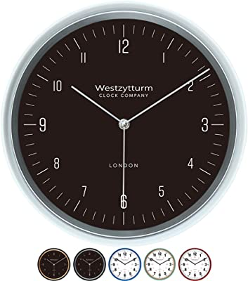 Westzytturm Office Wall Clocks Battery Operated 12 inches Silent Non Ticking Quartz Movement Classic Home Decorative (White)