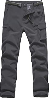 Boys' Winter Hiking Ski Snowboarding Pants, Softshell Pant, Fleece Lined and Waterproof Windproof for Outdoor Mountain
