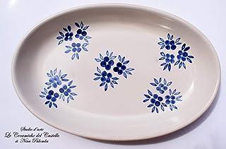 Piatto Ovale Linea Fiori Blu Ceramica Realizzato e Dipinto a mano Le Ceramiche del Castello Nina Palomba Made in Italy Dim...