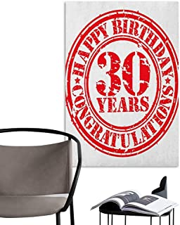 Brandosn Waterproof Art Wall Paper Poster 30th Birthday Grunge Vintage Rubber Stamp Congratulation Retro Old Fashioned Design Red and White TV Backdrop Wall W8 x H10