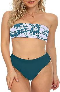 DUOSTICK 2 Piece Women's Bandeau Bikini Off Shoulder Swimsuits High Cut Swimwear