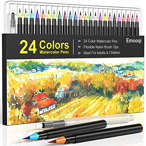 Watercolor Brush Pens, Emooqi 24 Colors for Watercolor Paint Markers with Flexible Nylon Brush Tips, Brush Pens for Calligraphy and Drawing Water Brush for Artists and Beginner Painters
