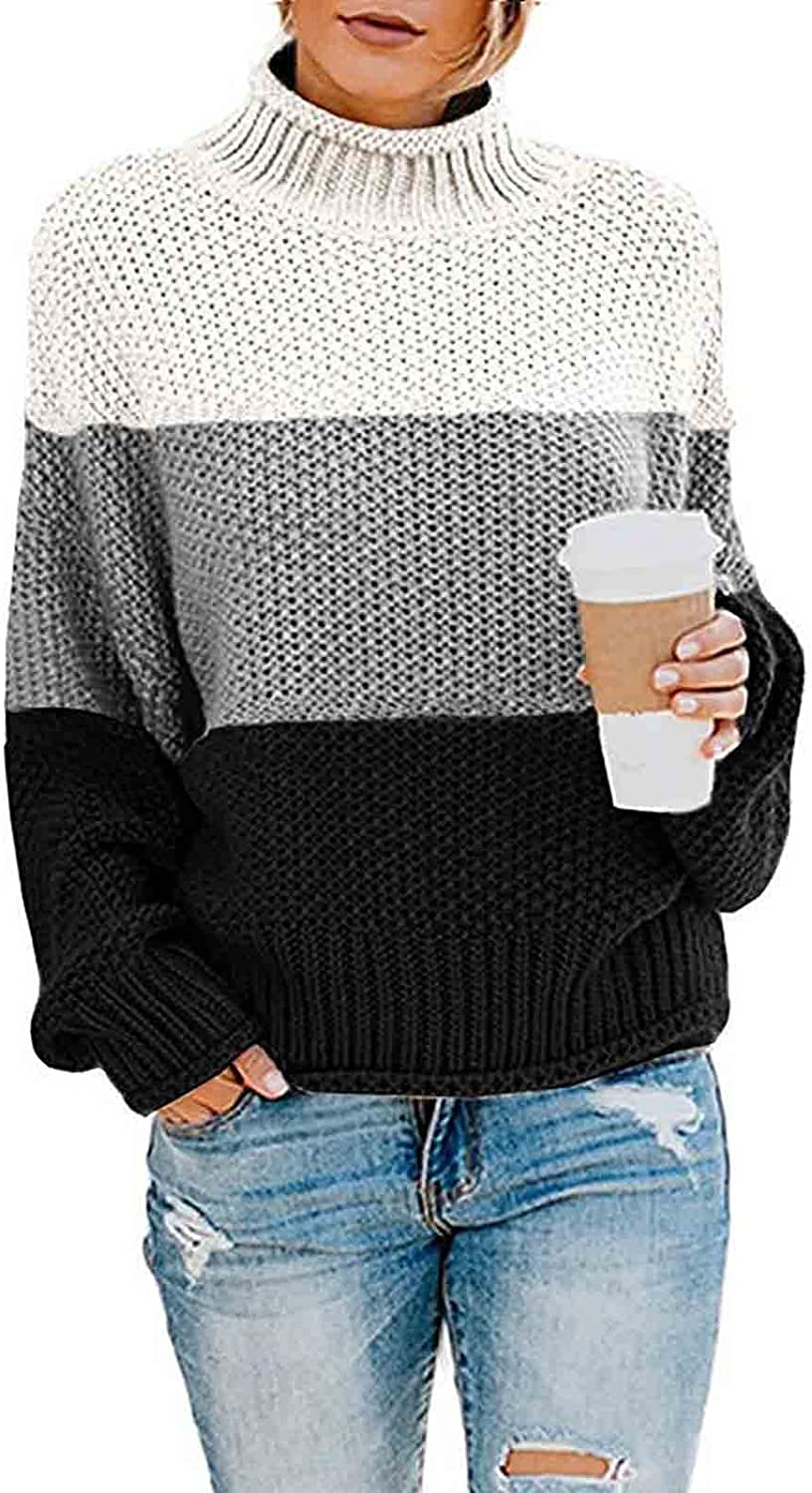 Pullover Fall Sweaters for Women Casual Loose Color Block Long Sleeve Turtleneck Knitted Tops