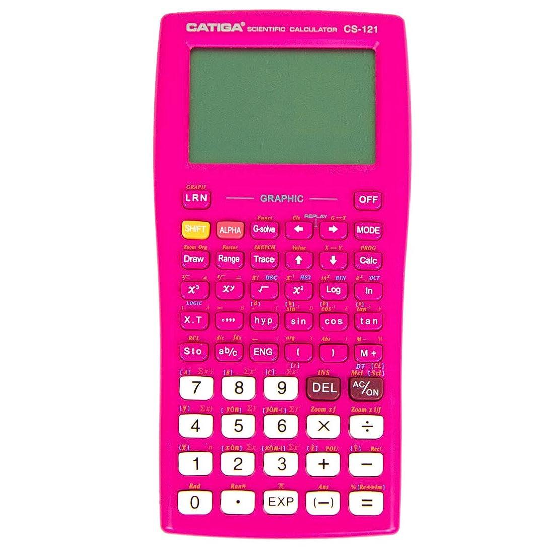 落ち着いた階下アテンダントグラフ電卓 - CATIGA CS121 - 科学と工学計算機 - プログラム可能システム (ピンク)