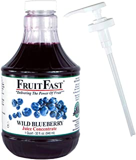 100% Wild Blueberry Juice Concentrate by FruitFast | ONE Quart 64 Day Supply - Non-GMO and Gluten Free | Includes Juice Bottle Pump