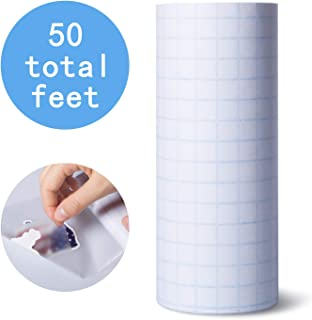 6 Inches x 50 Feet Clear Vinyl Tranfser Paper Tape Roll with Grid, Perfect Tape for Cameo, Cricut, Self Adhesive Vinyl Decals, Signs, Windows, Stickers and Other Smooth Surfaces