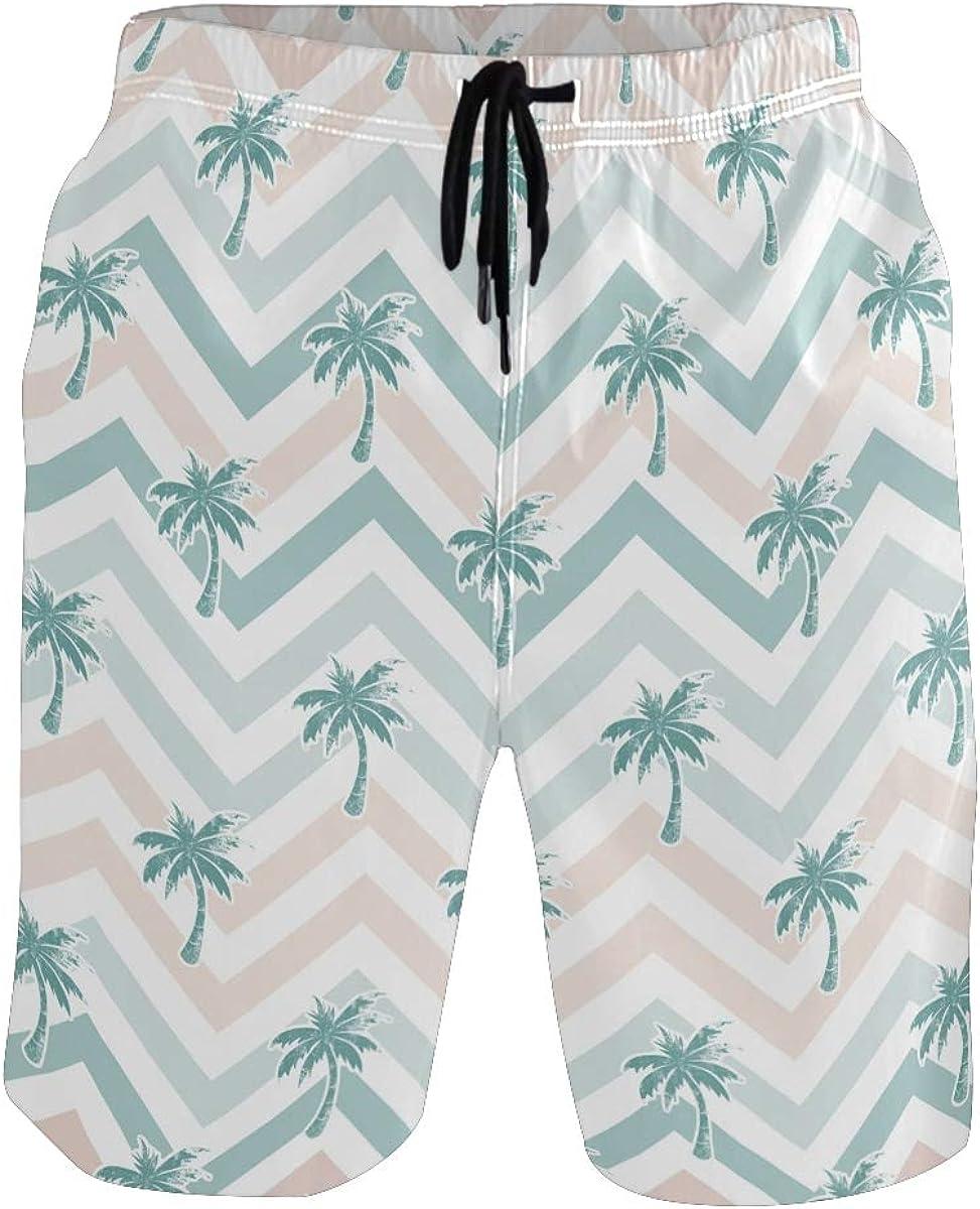 WangH Swim Trunks Summer Palm Trees, Beach Short Beachwear for Men Boys S