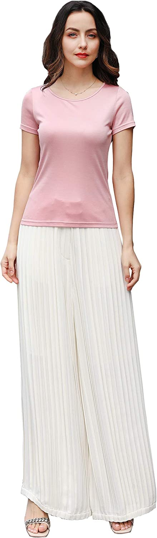 VOA Silk Round Collar Knit Short Tee Fall Winter Base Shirt Simple Pink Cute