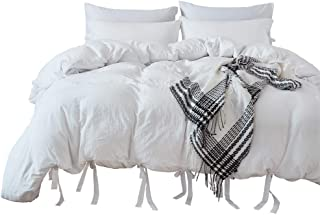 M&Meagle Duvet Cover White,Solid Color Bowknot Design,100% Microfiber Treated by Washed Cotton Process,Feels Like a Very Soft Cotton-King Size (3Pcs,1 Duvet Cover 2 Pillowcases)