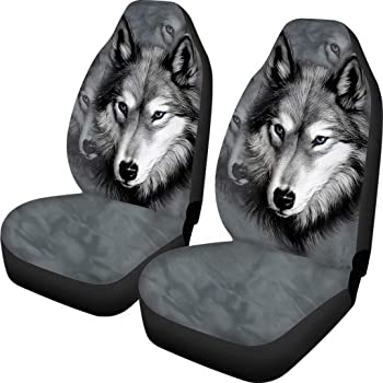1pcs Anti Slip Universal Fit Steering Wheel Cover 2pcs Seat Belt Shoulder Strap Cover and Car Console Cover for Most Car Wolf Spirit Pattern Car Seat Cushion Front Seat Only 2pcs