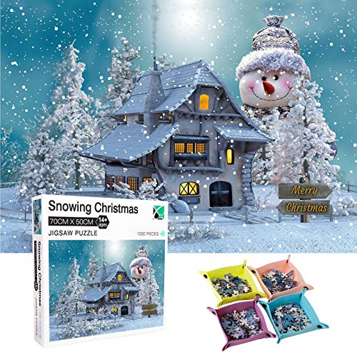 Challenge Jigsaw Puzzles 1000-Piece for Kids & Adults Snowing Christmas Puzzle Thick Puzzle Every Piece is Unique Puzzle with Letters On Back The Pieces Fit Together Perfectly with Four Storage Boxes