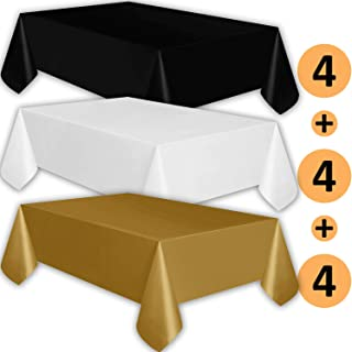 12 Plastic Tablecloths - Black, White, Gold - Premium Thickness Disposable Table Cover, 108 x 54 Inch, 4 Each Color