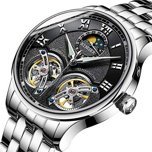 Binger Schweiz Uhren Double Tourbillon,Original Herren Automatikuhr Sapphire Japan Movement Self-Wind Fashion Men Mechanische Armbanduhr Leder 8606,B