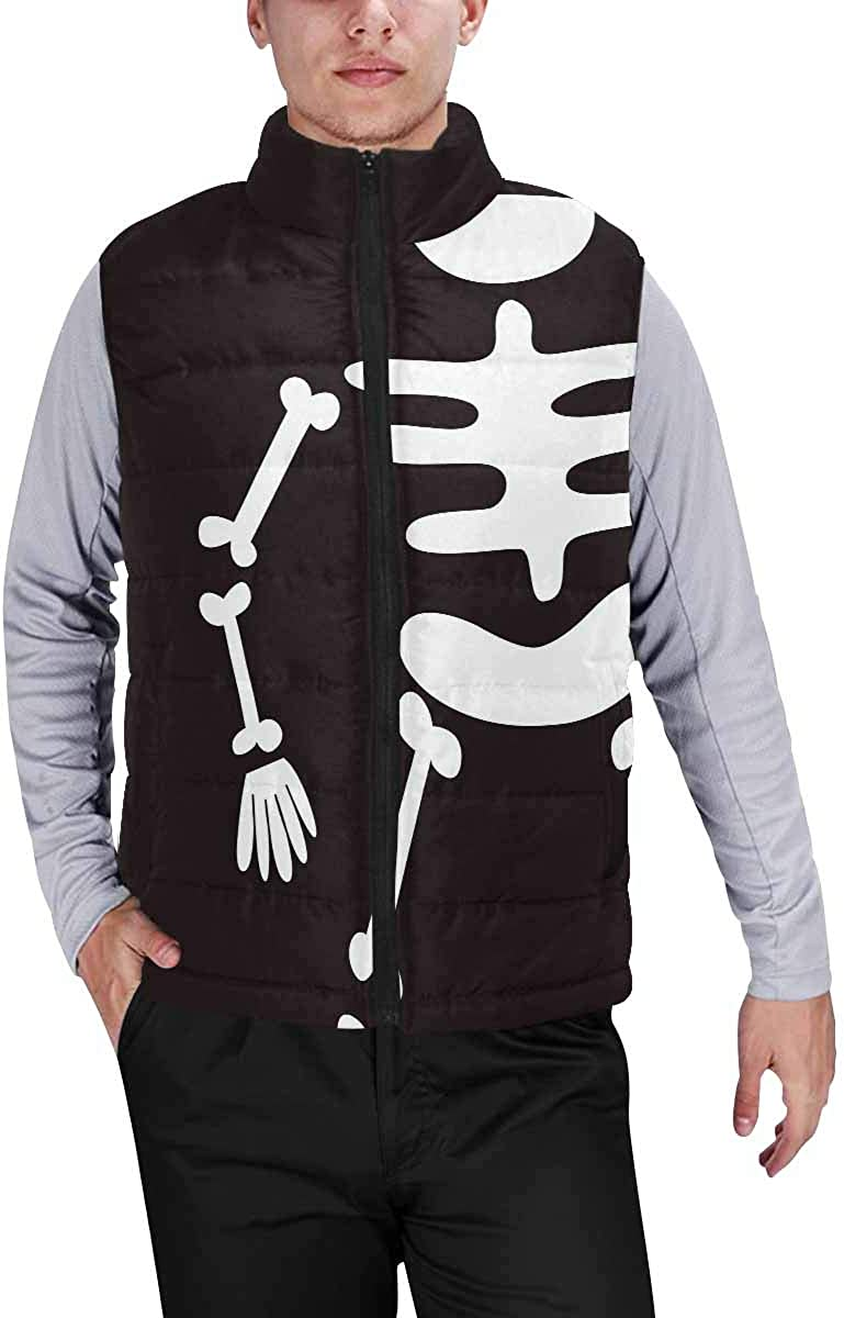 InterestPrint Men's Full-Zip Soft Warm Winter Outwear Vest Happy Halloween Lantern Pumpkin