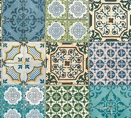 A.S. Création Vliestapete Authentic Walls 2 Tapete in portugiesischer Fliesen Optik fotorealistisch 10,05 m x 0,53 m blau gelb grün Made in Germany 364851 36485-1