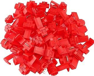 FULARR 50個 プロフェッショナル配線コネクターエレクトロタップセット、電気配線ブランチコネクタ、電線クイックスプライス端子、配線分岐コネクタ (赤)