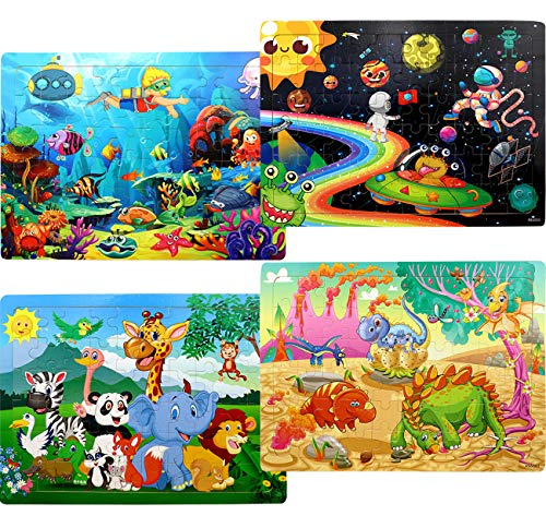 Puzzles for Kids Ages 4-8, 4 Pack Wooden Jigsaw Puzzles 60 Pieces Animal Dinosaur Puzzle Preschool Educational Learning Toys Set for Boys and Girls
