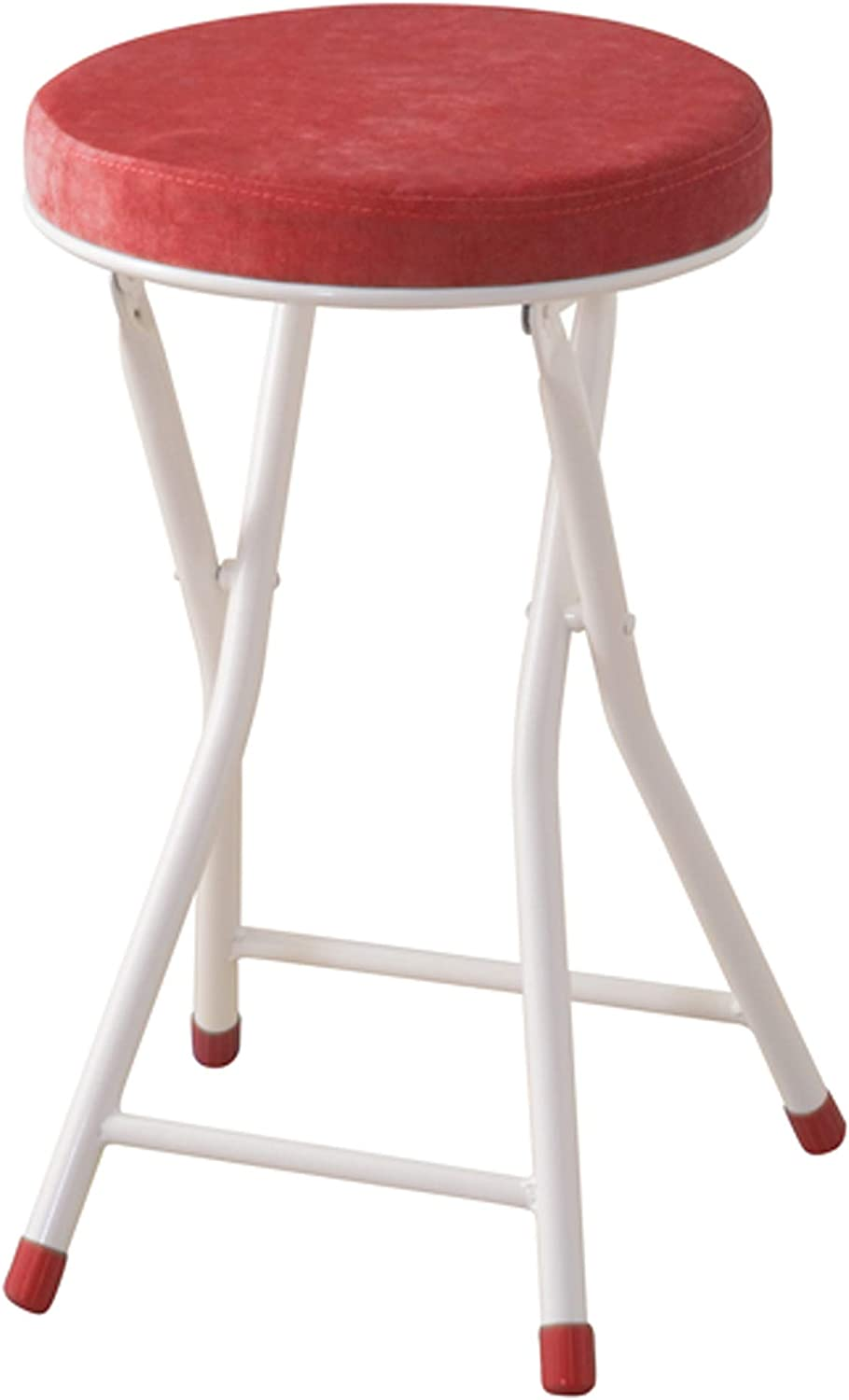 AZUMAYA Red Folding Stool Chair 19.3  Height, Steel Frame and Textile Fabric Seat Top RED PC-31RD