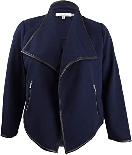 Women's Diamond Textured Jacket with Pu