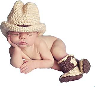 Memorz Newborn Infant Girl Boy Baby Handmade Crochet Knitted Costume Lovely Cowboy Clothes Photography Cap Hat Photo Prop (Khaki)