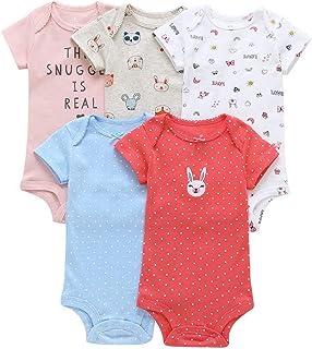 6ad159cdb ARAUS Pack Con 5 Unidades Recién Nacido Bebé Corto Mangas Romper Bodies Algodón  3-24Meses