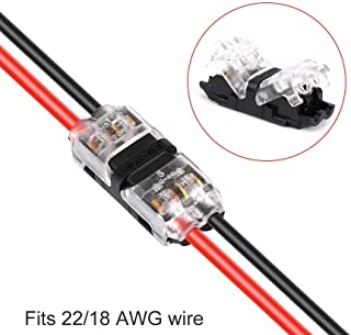 Low Voltage Wire Connectors, TYUMEN 12pcs 2 Pin 2 Way Universal Compact Wire I Shape Terminals, No Wire-Stripping Required, Toolless Wire Connectors, Quick Splice Wire Wiring Connector for AWG 20-24