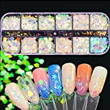 Mrsyel 12 Boxes Holographic Nail Art Glitter Kit Sequins Iridescent Mermaid Flakes Heart Glitters Confetti Butterfly Sticker Manicure Nail Supplies Decals Resin Carfts Decoration (1-Mermaid)