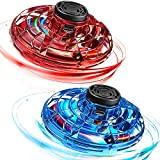 2 Pieces Hand Operated Drone Blue Red Flying Spinner Magic Toy Ball UFO Helicopter Toys 360 Degree Rotating Shining LED Lights Teens Adults Indoor Outdoor Games, Flashing Flying Ball