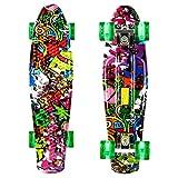 WeSkate 22 Zoll/55 cm Mini-Skateboard Cruiser con rodillos luminosos LED para adultos, niños, niños y niñas
