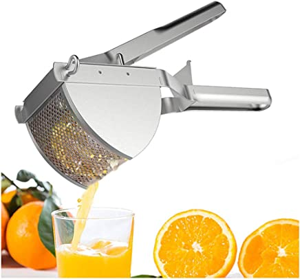 Stainless Steel Manual Juicer, Lemon juicer Kitchen Tools for Baby Food Supplement, Potato Machine, Mashed Potatoes, Pumpkin Puree, Easy to Clean, Silver