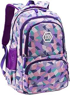 Baohooya Mochilas Antirrobo Impermeable para Hombre Mujer - Mochila Geométrica Casual Mochila del Ordenador Multiusos para Escolar Trabajo Viajes (Púrpura)