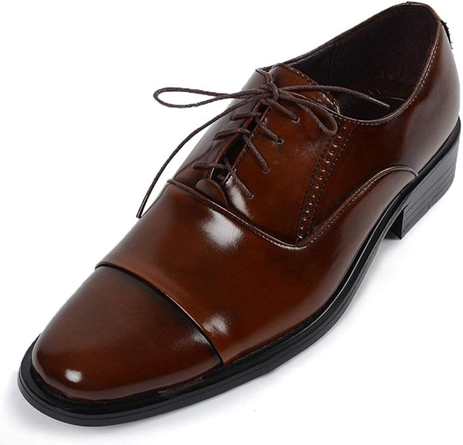 AKJC Business shoes Men Browndress shoes Men's Solid Casual shoes Pointed Business Pu Leather shoes Men's Lace Flat shoes