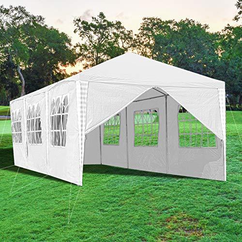 wolketon Pavillon Wasserdicht 3x9m Gartenzelt Hochwertiges Weiß Partyzelt UV-Schutz mit 8 Seitenteilen für Garten Party Familientreffen