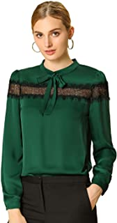 Women's Solid Elegant Bow Tie Neck Long Sleeve Work Office Blouse Lace Patchwork Top