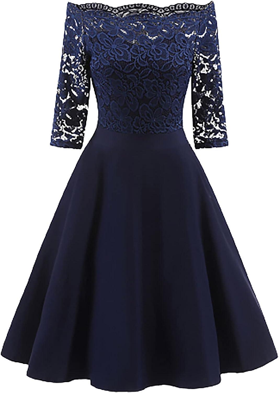 Dresses Women New Vintage Lace Patchwork Off Shoulder Cocktail Party Retro Swing Dress