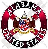 ALABAMA Flaggen-Wappen VEREINIGTE STAATEN Amerika USA Alabaman, Alabamian, Amerikanischer 100mm Auto & Motorrad Aufkleber, Vinyl Sticker